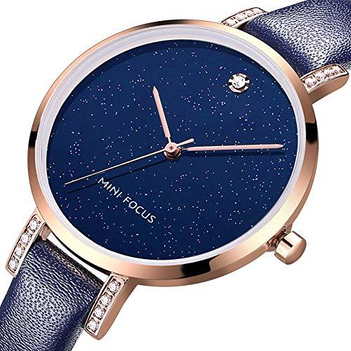 Fashion Black Watch Leather - MF MINI FOCUS Women Fashion Watch with Leather Strap (Blue, Black, Alloy, Wear-Resistant Crystal) Analog Quartz Female Wristwatch for Gift (Blue)
