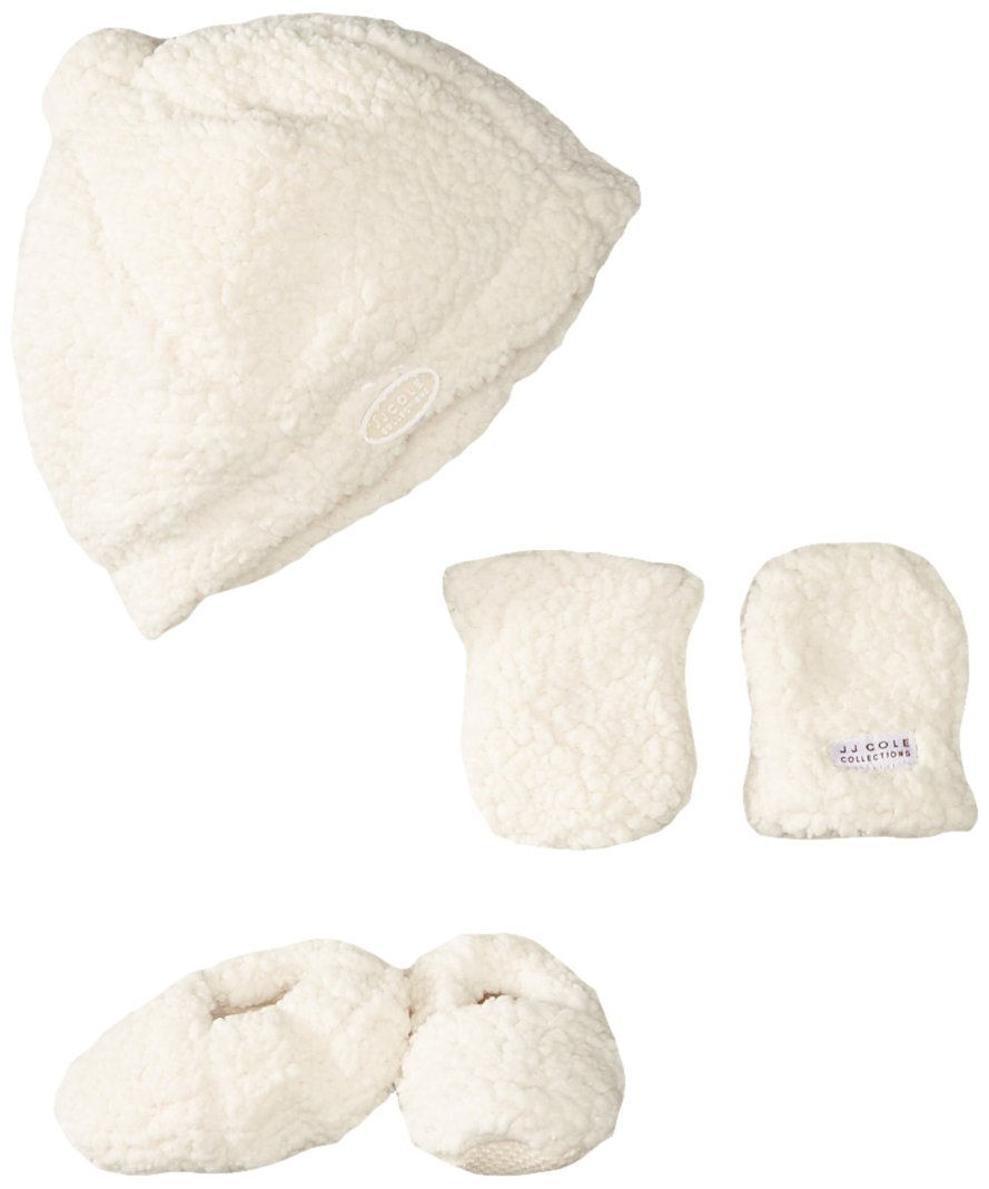 Jj Cole Bundleme Shearling Baby Hat, Mittens And Booties Set
