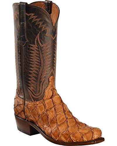 Lucchese Men's Handmade Cognac Murphy Pirarucu Cowboy Boot Snip Toe Cognac 10 EE US