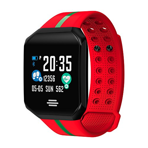 NXDA B07 Square Dial Heart Rate Activity Step Counter Calorie Smart Bracet with Colorful Silicone Strap Band For Kids Women Men for Android iOS (Red)