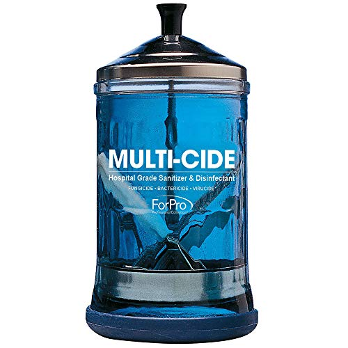 "ForPro Multi-Cide Midsize Disinfecting Jar, for Manicure & Spa Implements, 21 oz, 8"" H x 4.25"" W"