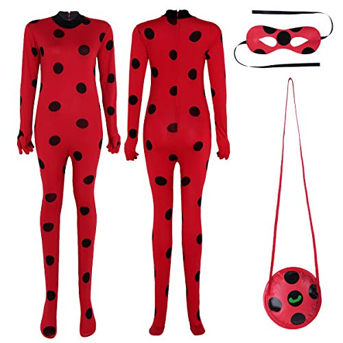 FEESHOW Adult Ladybug Outfit Cosplay Costume Marinette Halloween Fancy Dress up Jumpsuit Red Medium