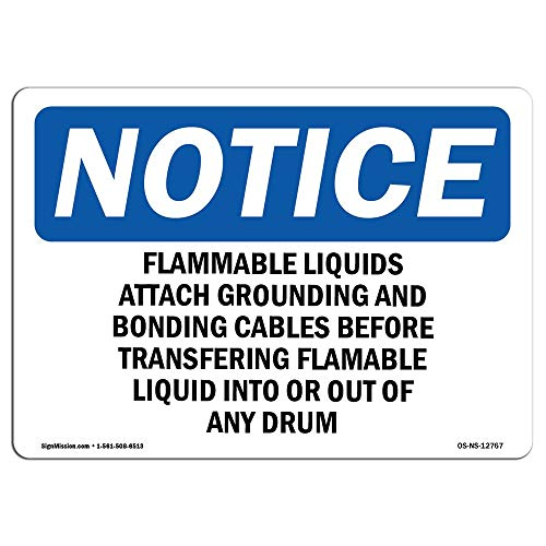 Grounding Flammable Liquids - OSHA Notice Sign Flammable Liquids Attach Grounding and Bonding Protect Your Business Work Site Warehouse Shop Novelty Metal Sign for Home Decor Tin Sign for Man Women Cave