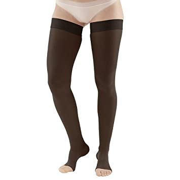 77fbde889df4e Ames Walker Unisex AW Style 265 Microfiber Opaque Open Toe Compression Thigh  High Stockings w/
