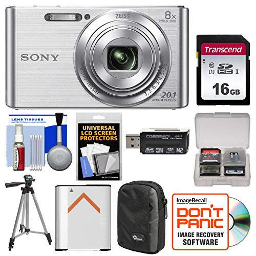 Sony Cyber-Shot DSC-W830 Digital Camera (Silver) with 16GB Card + Case + Battery + Tripod + Accessory Kit