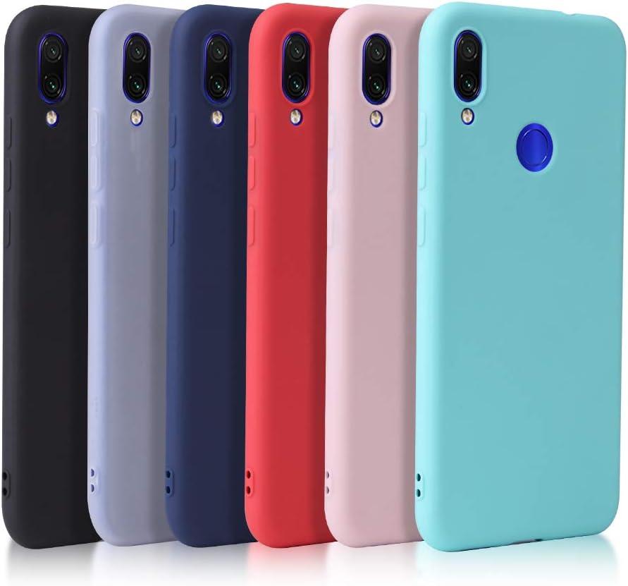 6X Funda Compatible con Xiaomi Redmi Note 7 / Redmi Note 7 Pro/Redmi Note 7S, Carcasa Suave Mate de 6 Colores, Funda Delgado Ligero de Silicona TPU, Negro+Rojo+Azul Oscuro+Rosa+Azul Cielo+Translúcido