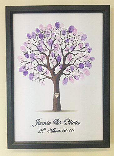 Fancy Pants Frame (Personalised Wedding Tree Guest Book Alternative Wishing Tree - with frame and ink pad - PURPLE by Fancy Pants Store)