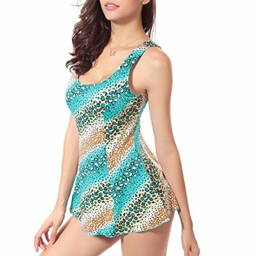 Zhhlaixing Adult Floral Slimming Swimdress Swimwear Women's Plus Size Elastic Swimsuit Blue