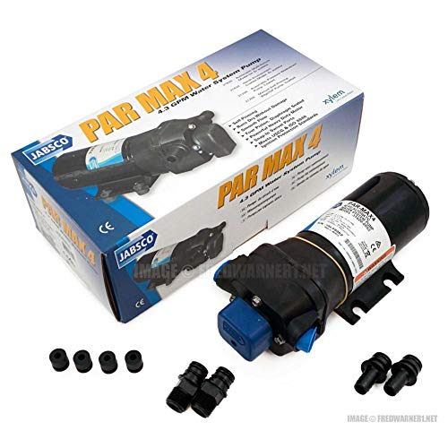 Jabsco 31620-0092 Marine ParMax 4 High Pressure Water System Pump (4.3-GPM, 40-PSI, 12-Volt, 15-Amp, Up to 5 Outlets)