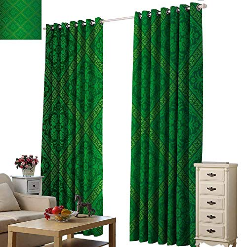 Decorative Curtains for Living Room Green Vector Illustration Seamless Pattern of Foliage Wallpaper Pattern Artwork Print Thermal Insulated Tie Up Curtain W108 xL96 Forest Green