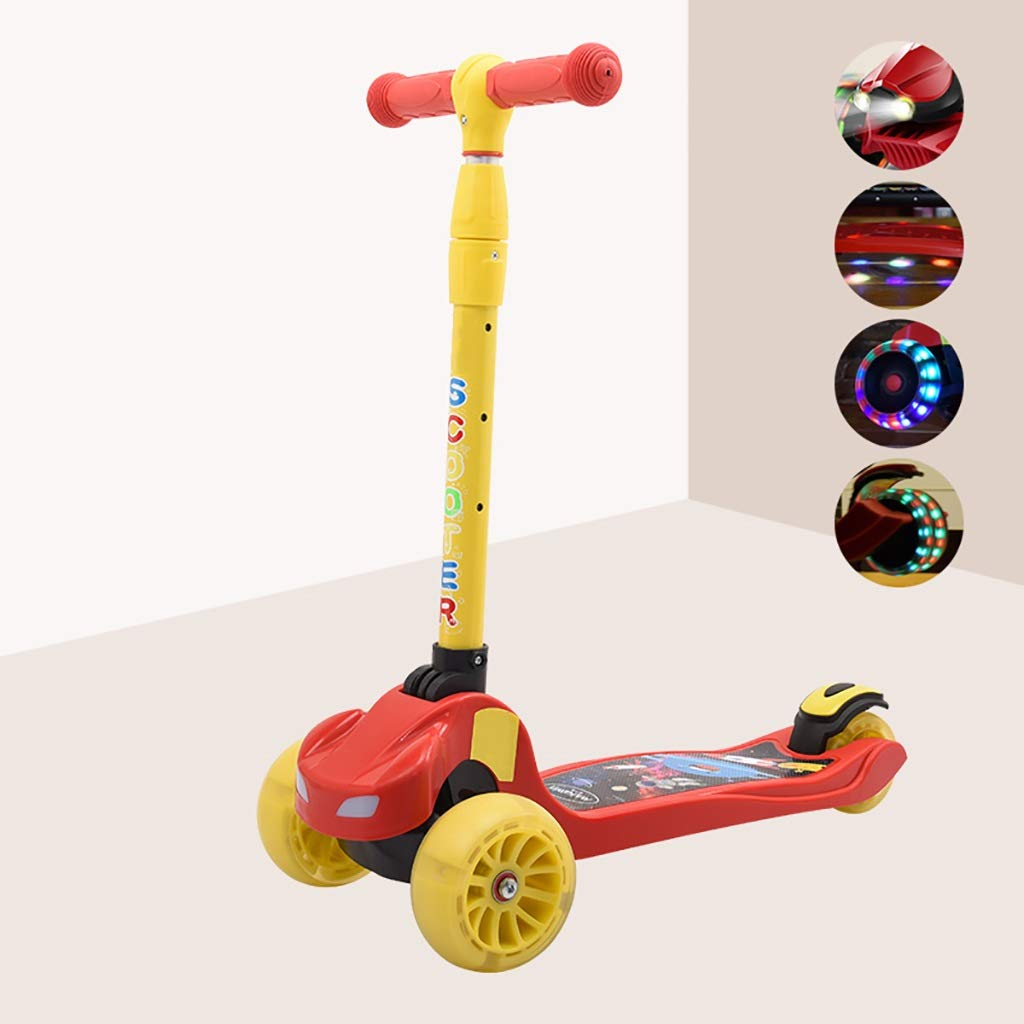 子供用スクーター折りたたみ式 B07R7FF59S、調整可能ハンドル&フロントヘッドライト+シャーシストロボライト B07R7FF59S, 車力村:9e5e17e2 --- aitaocity.com