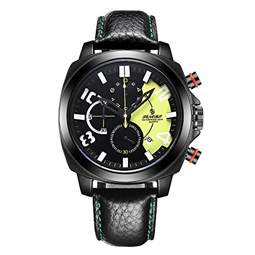 Sport Stop-watch for Men, SENORS Big Face Black Leather Strap Male Clock Chronograph, Calendar, Yellow (Chronograph Dial Yellow Textured)