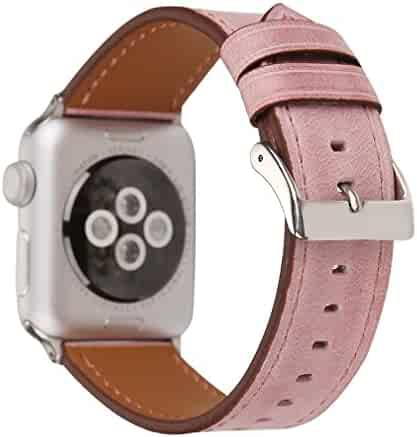Juzzhou Leather Watch Band For Apple Watch iWatch 38mm or 42mm Series 3/2/1 All Model With Metal Adapter And Adjustable Buckle