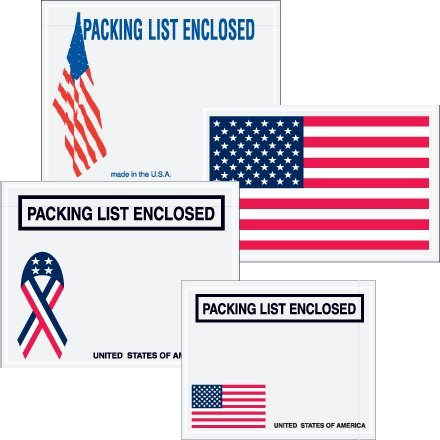 """Aviditi PL467 Poly Pressure Sensitive Envelope, Legend """"PACKING LIST ENCLOSED"""" with U.S.A. Ribbon Graphic, 7"""" Length x 5-1/2"""" Width, 2 mil Thick, Black on White (Case of 1000)"""