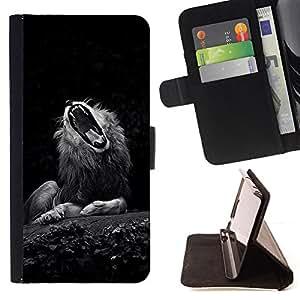 BullDog Case - FOR/Samsung Galaxy S5 Mini, SM-G800 / - / wolf roar yawn sleepy cat big nature /- Monedero de cuero de la PU Llevar cubierta de la caja con el ID Credit Card Slots Flip funda de cuer