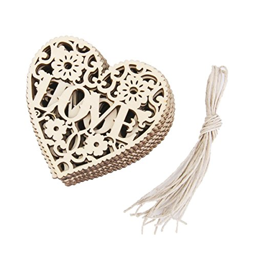 BinaryABC Heart Wooden Hanging Ornament,Wooden Embellishments Crafts ,for Wedding Valentine's Day Gift DIY,15Pcs