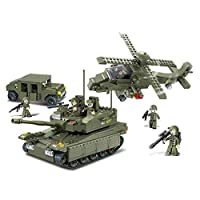 Sluban Amphibious Onrush Blocks Army Bricks Toy - K-1 Tank & Hind Helicopter & Hummer Squad Car