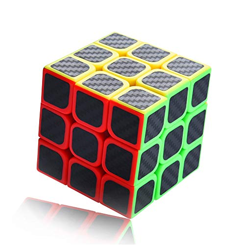 Glass Birthday Cube (Nesee 3x3x3 Speed Cube Carbon Fiber Sticker Magic Cube Twisty Puzzle Toy Christmas Birthday Gifts for Kids Magic Cube Puzzles)