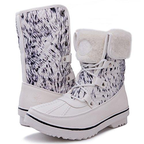 Women's GLOBALWIN 1706 White Print Snow Boots 8.5M US