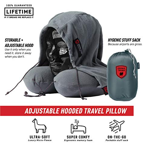 Grand Trunk Hooded Travel Pillow: 360 Neck and Head Support, High-Grade Memory Foam, Adjustable Light-Blocking Hood, Carry Bag Included - Perfect for Car or Airplane Sleeping, Slate Gray