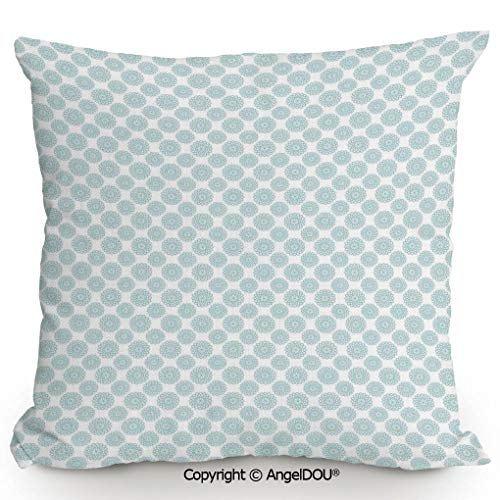 Core Elliptical - AngelDOU Decorative Cotton Linen Pillowcase with core,Elliptical Shapes with Star Like Symbols Inside Wavy Bold Chain Pattern,Sofa Bedroom Car Eco-Friendly Pillow Cushion.15.7x15.7 inches