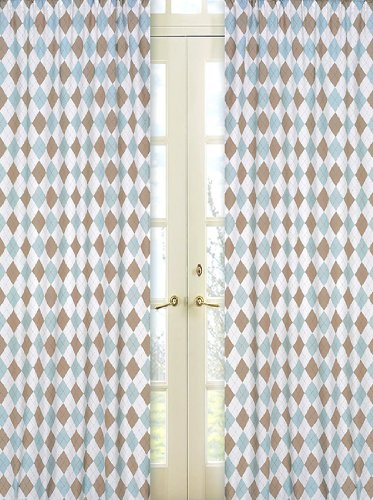 Brown and Blue Argyle Window Treatment Panels by Sweet Jojo Designs - Set of 2