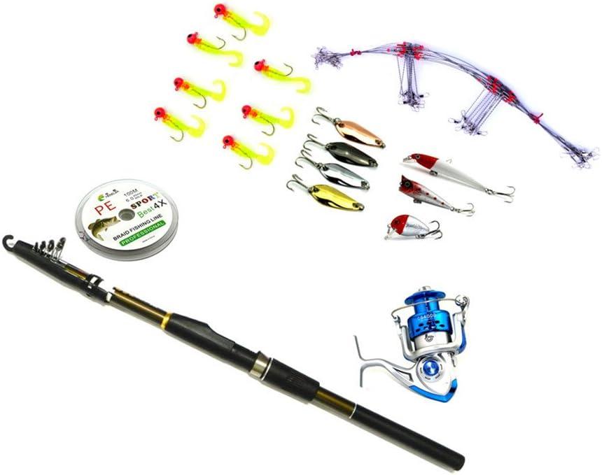 Hengjia Spinning caña y carrete Combos de reforzar plástico caña de pesca con línea/Minnow/portadocumentos/manivela/cuchara gancho acero anzuelos Pesca Señuelos Kit: Amazon.es: Deportes y aire libre