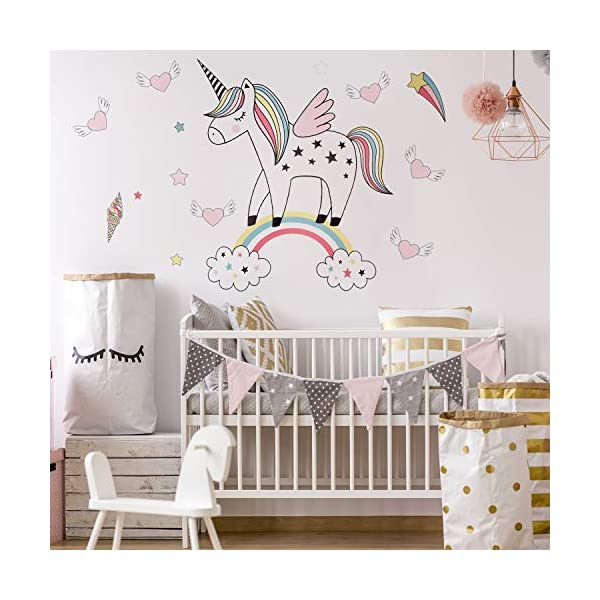 Unicorn Wall Decals Decor Stickers Large Gifts for Kids Teen Girls Boys Rooms Bedroom Nursery Bedding 6