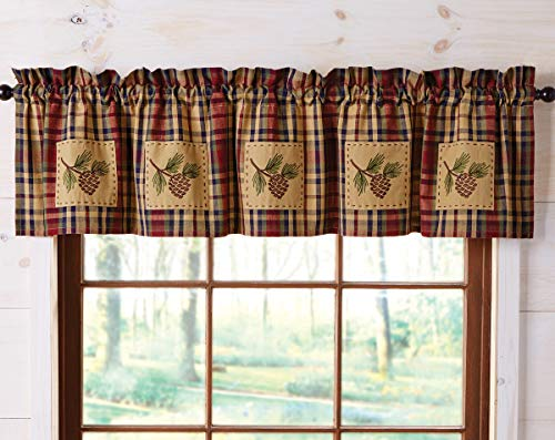 Pinecone Patch - Black Forest Decor Plaid Pinecone Patch Valance