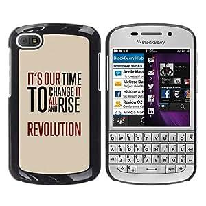 Qstar Arte & diseño plástico duro Fundas Cover Cubre Hard Case Cover para BlackBerry Q10 ( Time Revolution Freedom Red Message)