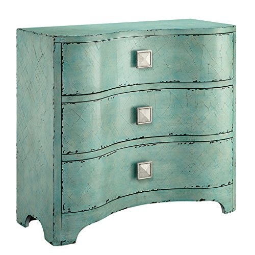 Madison Park Fulton Storage Chest - Wood Living Room Storage - Cracked Antique Blue Teal, Antique Rustic Style Dresser Chest - 1 Piece 3 Drawer Chest Chest For Bedroom ()