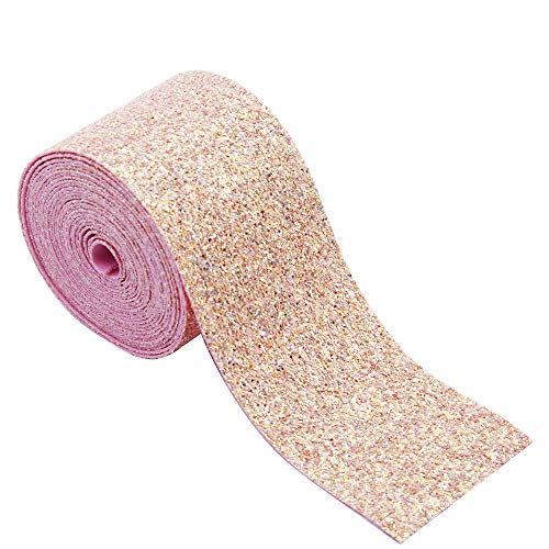(David Angie 3 Inch 5 Yard Glitter Synthetic Leather Ribbon for Jewelry Making Handmade Material (Pink))