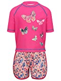 M&Co Girls Swimwear Pink Butterfly Print Half Sleeve High Neck Top and Shorts Rash Guard Swim Set Pink 8/9 Yr