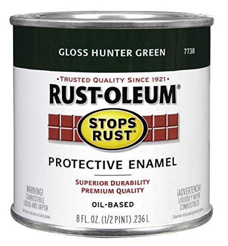 Hunter Green Enamel - Rust-Oleum 7738730 1/2-Pint 8-Ounce Protective Enamel, Gloss Hunter Green