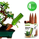 DCZTELG Plant Watering Spikes Devices Wine Bottle Garden Terracotta Slow Release Self Irrigation Watering System 4 Pack (TC4-pack)