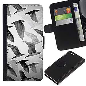 EJOY---La carpeta del tirón la caja de cuero de alta calidad de la PU Caso protector / Apple Iphone 6 / --Gaviotas Negro Blanco Profundo Arte