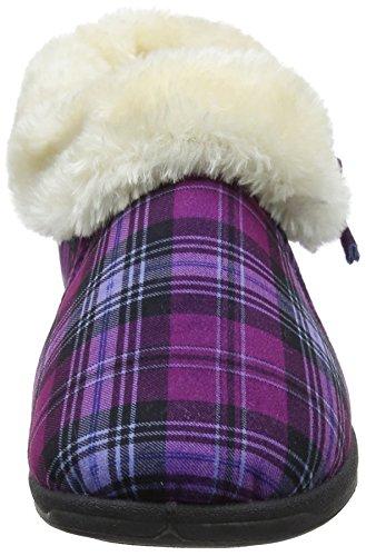 Dunlop Damen Bessie Flache Hausschuhe Violett (Purple Check)