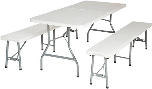 Conjunto de mesa y 2 bancos plegables para terraza: Amazon.es: Jardín