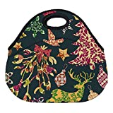 DKISEE Seamless Patchwork Christmas Pattern Large & Thick Neoprene Lunch Bags Insulated Lunch