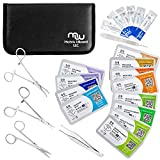 Suture Threads with Needle + Tools for Medical Student's Surgical Practice Kit; Outdoor Camping Emergency Survival Demo; Hospital First Aid Training (Mixed Suture 0-2, 0-3, 0-4, 0-5 +Tools 24Pk Total)