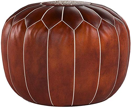 Moroccan Leather Pouf - Handmade Leather Pouffe - Luxury Dark Brown Pouf - Ottoman Footstool Hassock - 100% Real Natural Goat Leather - Unstuffed by Moroccan Leather