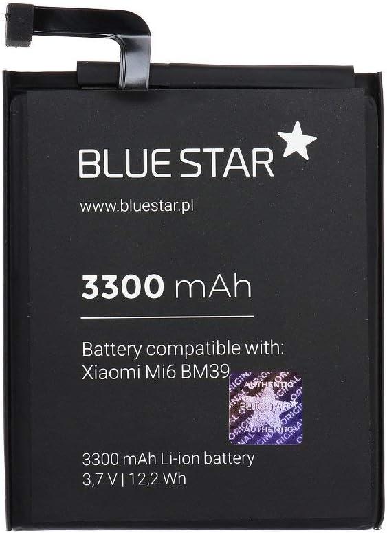 Blue Star Premium - Batería de Li-Ion Litio 3300 mAh de Capacidad Carga Rapida 2.0 Compatible con el Xiaomi Mi6 (BM39)