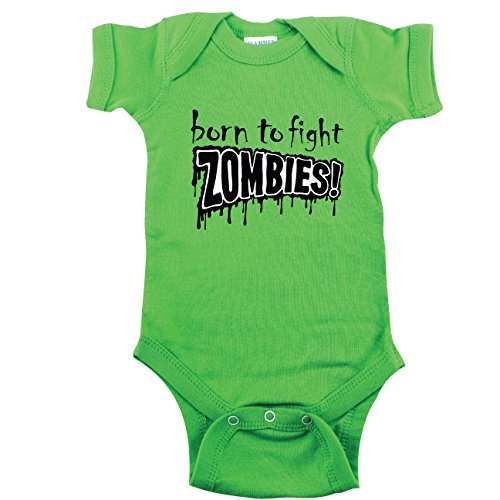 Zombie Baby Outfit, Born to Fight Zombies, Green 3-6 mo -