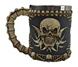 KW Collectible Gift Co.Medieval Tribal Skull Skeleton Coffee Mug Cup 3D Gothic Ossuary Style Drinking Tankard Stein