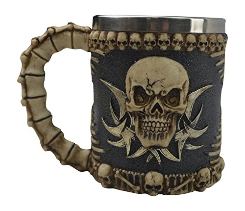 KW Collectible Gift Co.Medieval Tribal Skull Skeleton Coffee Mug Cup 3D Gothic Ossuary Style Drinking Tankard (Scary Halloween Coffee Mugs)