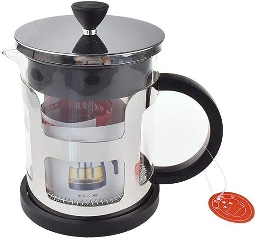 Hokaime Espesar la Olla de presión de Vidrio Acero Inoxidable Prensa Francesa Cafetera Método de Filtro Olla de presión Máquina de té Manual Europea, 1000 ml: Amazon.es: Hogar