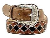 Nocona Boy's Patchwork Design Belt, Black, Brown, 26