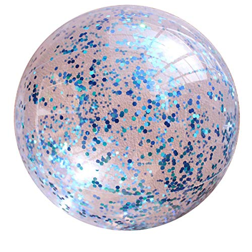 Cuteboom 2 Pack Sequin Beach Ball Jumbo Pool Toys Balls in Clear Beach Ball Swimming Pool Water Fun Party Toy Best Summer Toy for Water Fun. (24