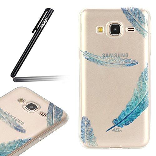 Funda para Samsung Galaxy J3 J3 (2016), Ukayfe Suave Carcasa Caso Parachoques Diseño pintado Patrón para Samsung Galaxy J3 J3 (2016),Funda Case Lujo Premium Bling Caja PC Dura Ultra Fina Cubierta Matt Azul de la pluma