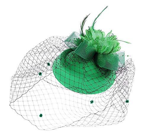 Flower Hats For Halloween (Ahugehome Fascinator Hair Clip Headband Pillbox Hat Flower Weeding Cocktail Tea Party (A Dark)